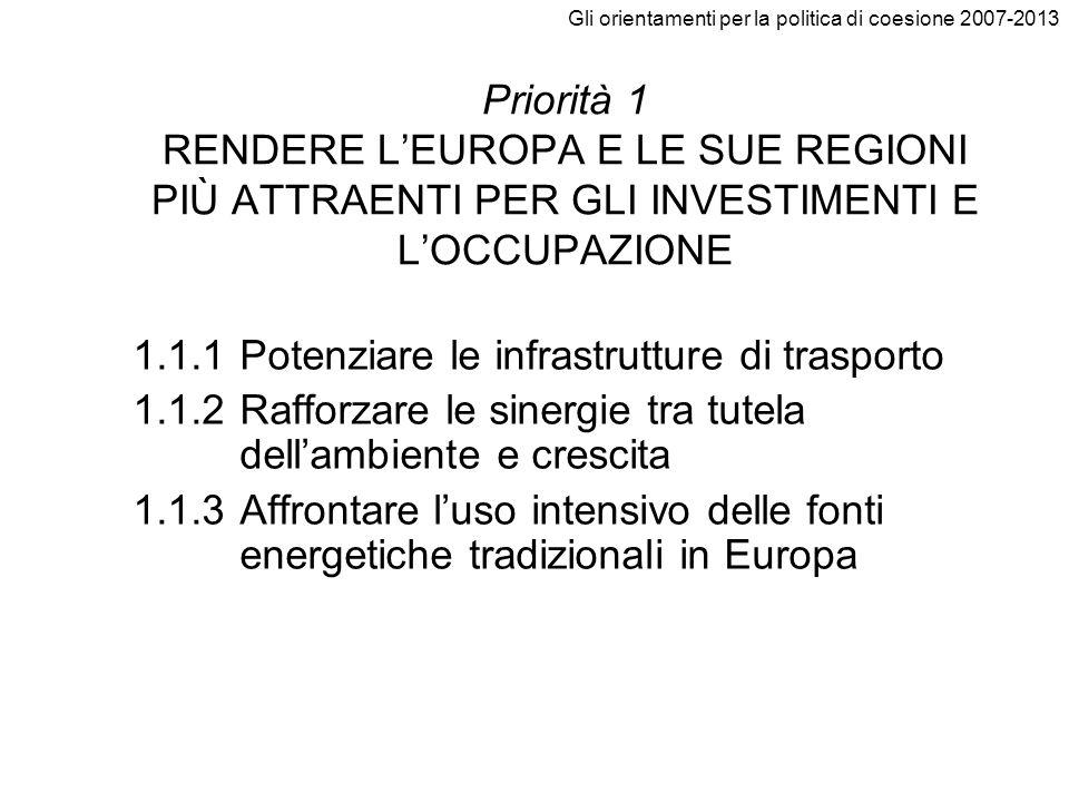 Gli orientamenti per la politica di coesione 2007-2013 Priorità 1 RENDERE LEUROPA E LE SUE REGIONI PIÙ ATTRAENTI PER GLI INVESTIMENTI E LOCCUPAZIONE 1