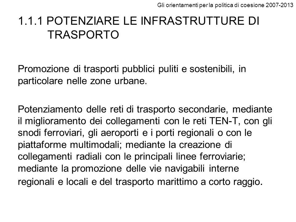 Gli orientamenti per la politica di coesione 2007-2013 1.1.1 POTENZIARE LE INFRASTRUTTURE DI TRASPORTO Promozione di trasporti pubblici puliti e soste