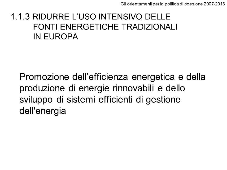 Gli orientamenti per la politica di coesione 2007-2013 1.1.3 RIDURRE LUSO INTENSIVO DELLE FONTI ENERGETICHE TRADIZIONALI IN EUROPA Promozione delleffi