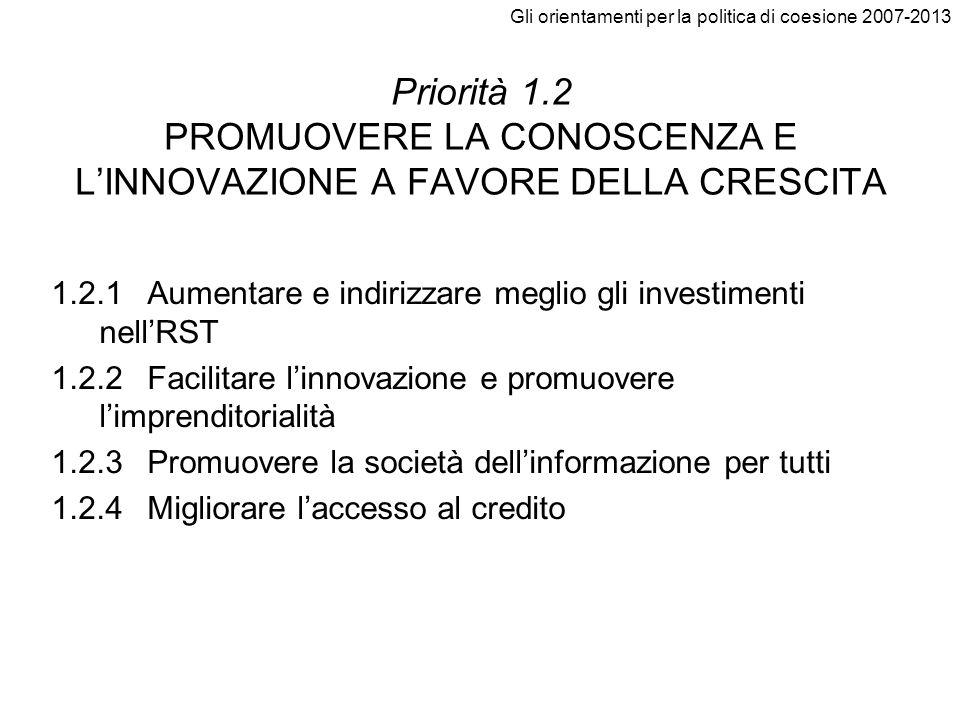 Gli orientamenti per la politica di coesione 2007-2013 Priorità 1.2 PROMUOVERE LA CONOSCENZA E LINNOVAZIONE A FAVORE DELLA CRESCITA 1.2.1Aumentare e i