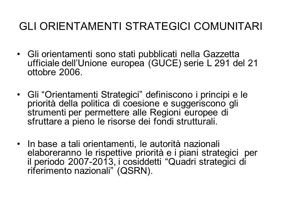 GLI ORIENTAMENTI STRATEGICI COMUNITARI Gli orientamenti sono stati pubblicati nella Gazzetta ufficiale dellUnione europea (GUCE) serie L 291 del 21 ot