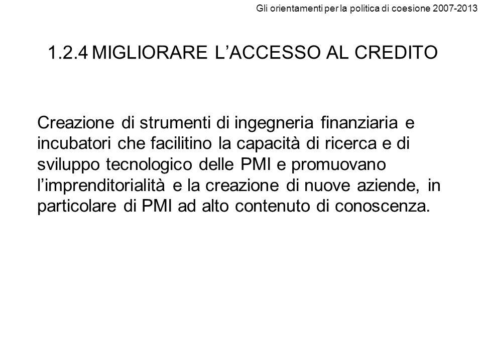 Gli orientamenti per la politica di coesione 2007-2013 1.2.4 MIGLIORARE LACCESSO AL CREDITO Creazione di strumenti di ingegneria finanziaria e incubat