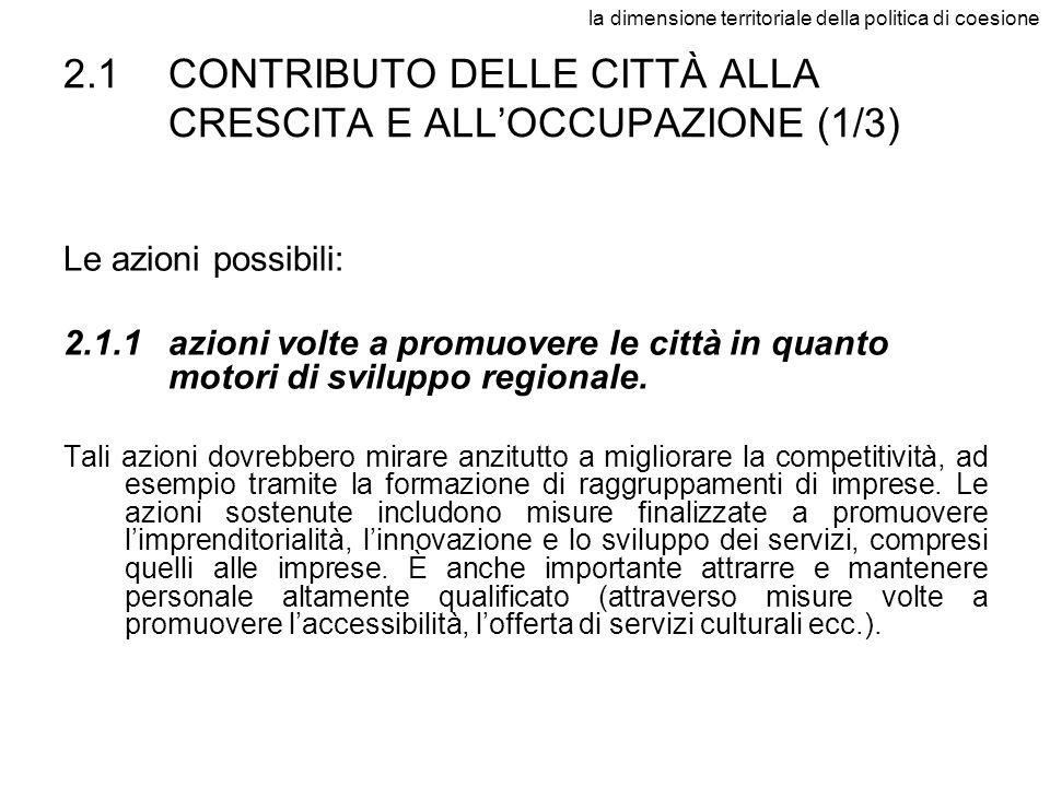 la dimensione territoriale della politica di coesione 2.1CONTRIBUTO DELLE CITTÀ ALLA CRESCITA E ALLOCCUPAZIONE (1/3) Le azioni possibili: 2.1.1azioni