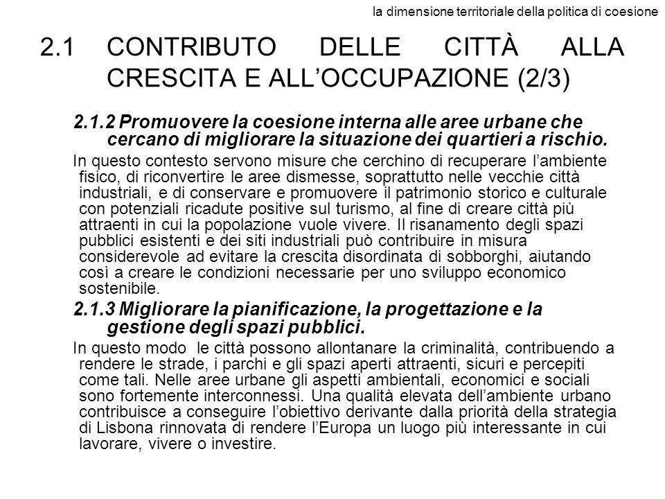 la dimensione territoriale della politica di coesione 2.1CONTRIBUTO DELLE CITTÀ ALLA CRESCITA E ALLOCCUPAZIONE (2/3) 2.1.2 Promuovere la coesione inte