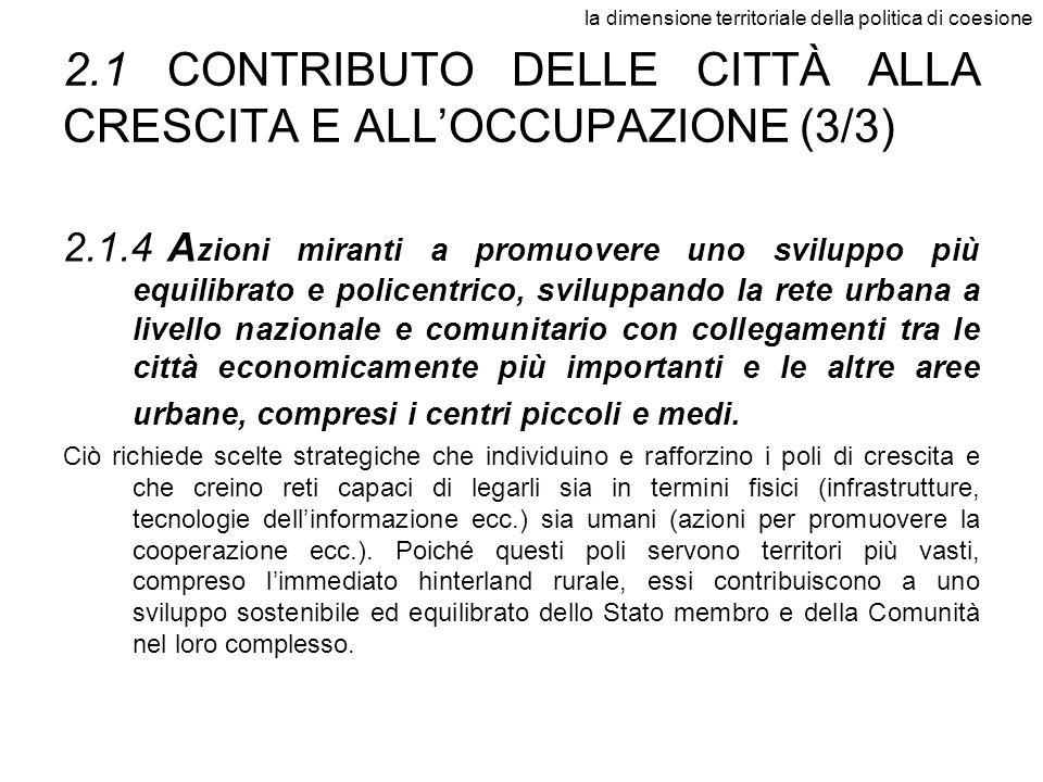 la dimensione territoriale della politica di coesione 2.1CONTRIBUTO DELLE CITTÀ ALLA CRESCITA E ALLOCCUPAZIONE (3/3) 2.1.4A zioni miranti a promuovere