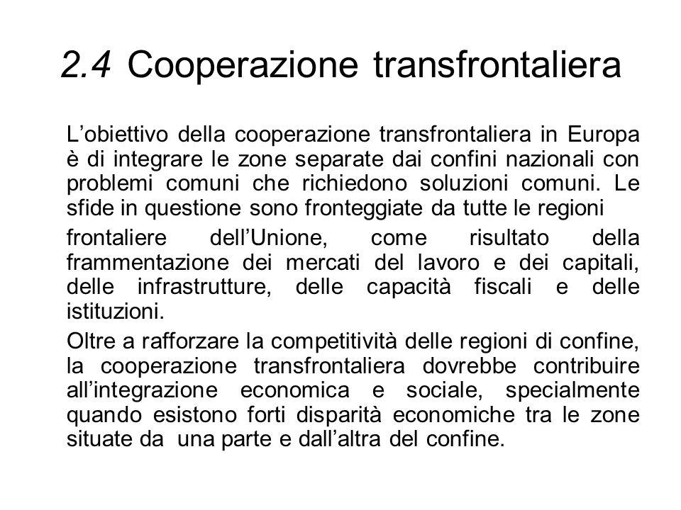 2.4Cooperazione transfrontaliera Lobiettivo della cooperazione transfrontaliera in Europa è di integrare le zone separate dai confini nazionali con pr