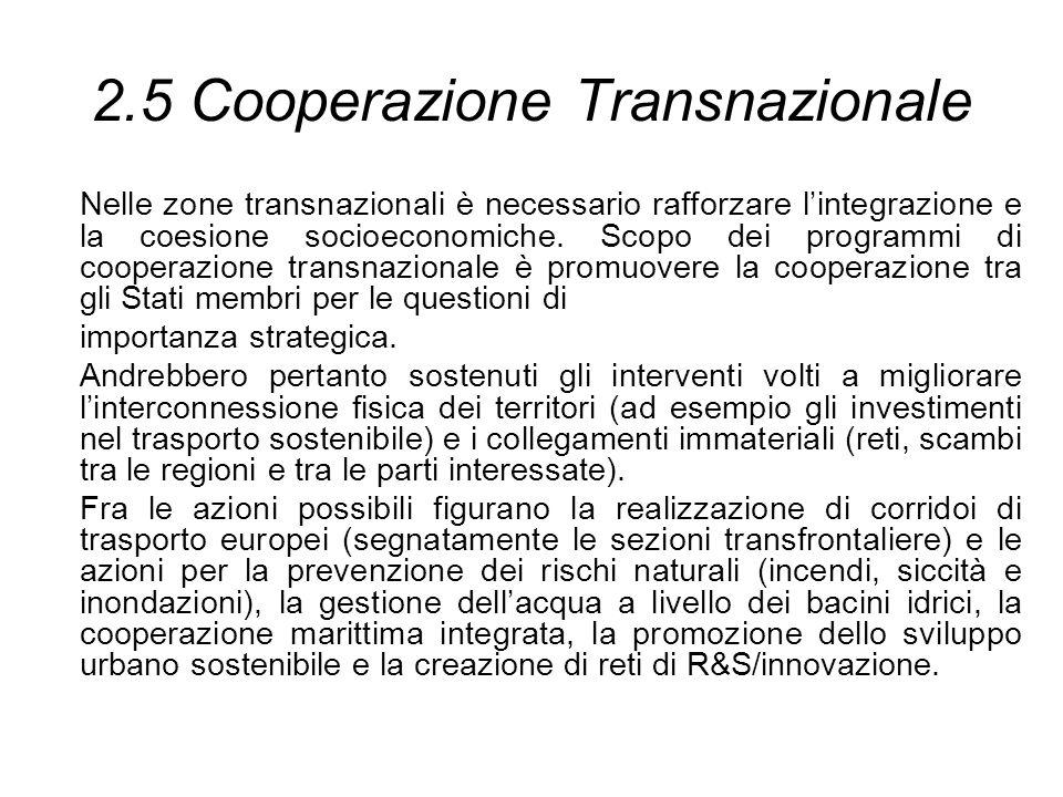 2.5 Cooperazione Transnazionale Nelle zone transnazionali è necessario rafforzare lintegrazione e la coesione socioeconomiche. Scopo dei programmi di