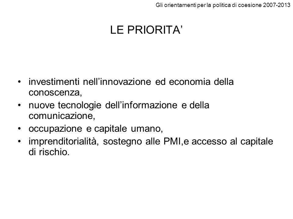Gli orientamenti per la politica di coesione 2007-2013 Priorità 1.2 PROMUOVERE LA CONOSCENZA E LINNOVAZIONE A FAVORE DELLA CRESCITA 1.2.1Aumentare e indirizzare meglio gli investimenti nellRST 1.2.2Facilitare linnovazione e promuovere limprenditorialità 1.2.3Promuovere la società dellinformazione per tutti 1.2.4Migliorare laccesso al credito