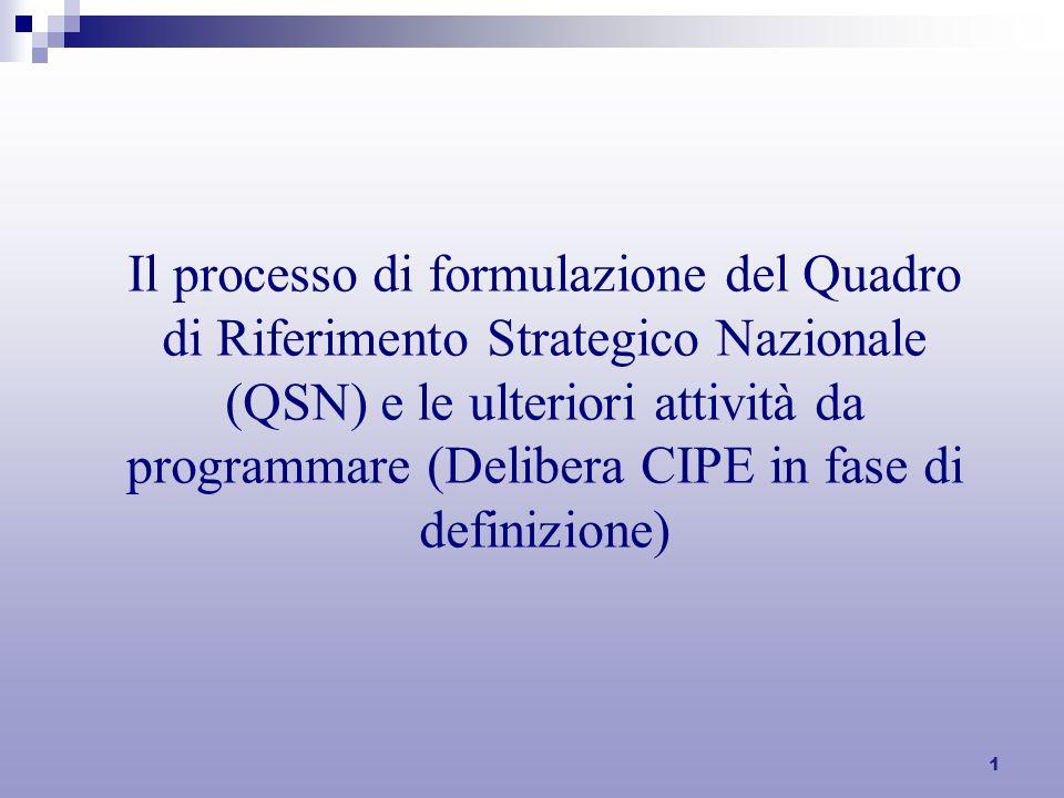 1 Il processo di formulazione del Quadro di Riferimento Strategico Nazionale (QSN) e le ulteriori attività da programmare (Delibera CIPE in fase di definizione)