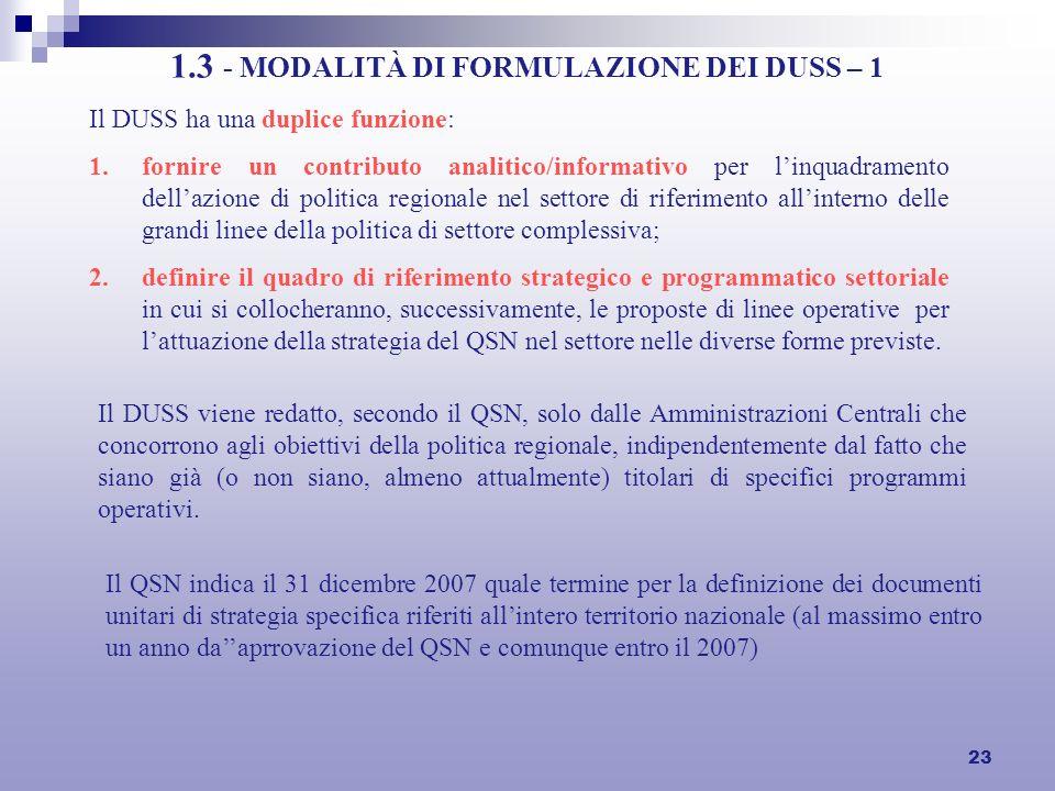 23 1.3 - MODALITÀ DI FORMULAZIONE DEI DUSS – 1 Il DUSS ha una duplice funzione: 1.fornire un contributo analitico/informativo per linquadramento della