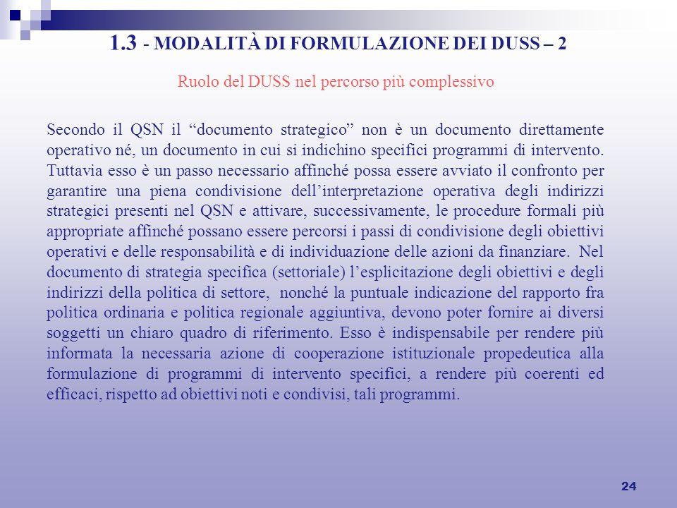24 1.3 - MODALITÀ DI FORMULAZIONE DEI DUSS – 2 Secondo il QSN il documento strategico non è un documento direttamente operativo né, un documento in cui si indichino specifici programmi di intervento.