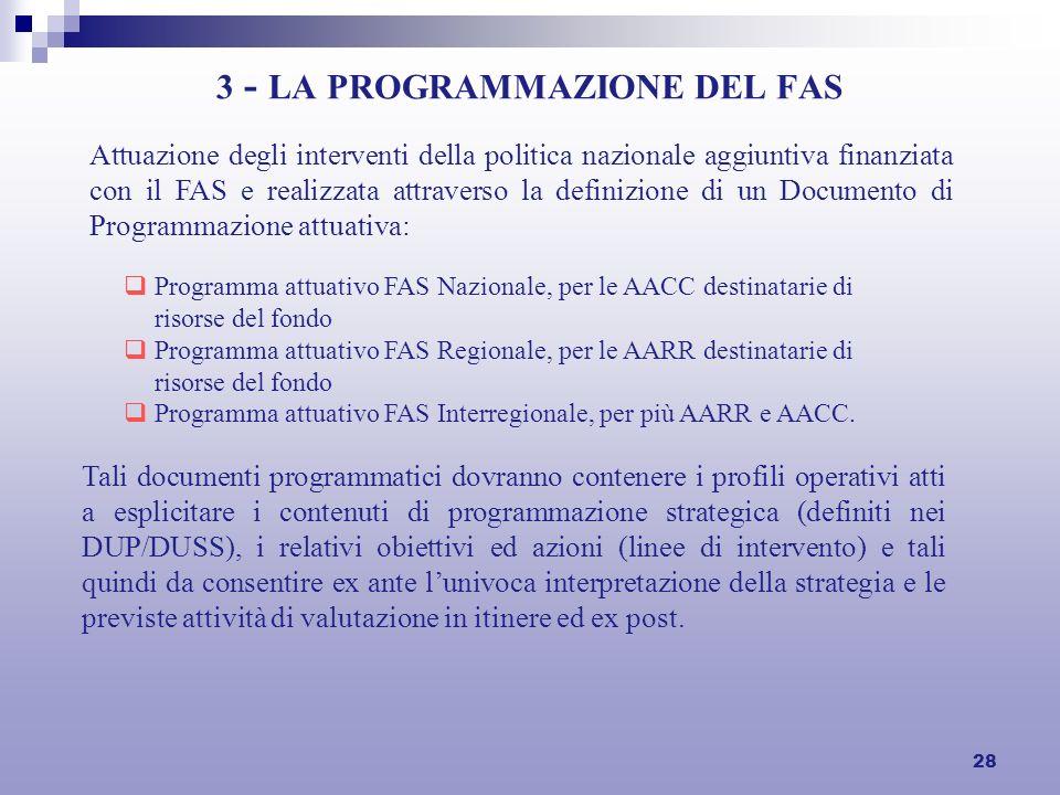 28 3 - LA PROGRAMMAZIONE DEL FAS Attuazione degli interventi della politica nazionale aggiuntiva finanziata con il FAS e realizzata attraverso la definizione di un Documento di Programmazione attuativa: Programma attuativo FAS Nazionale, per le AACC destinatarie di risorse del fondo Programma attuativo FAS Regionale, per le AARR destinatarie di risorse del fondo Programma attuativo FAS Interregionale, per più AARR e AACC.