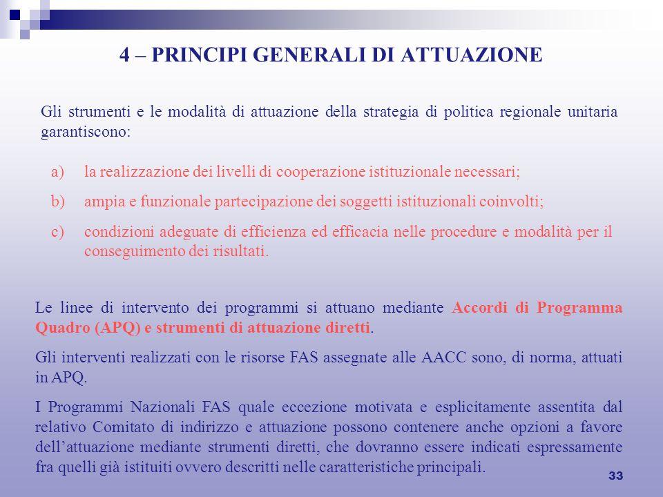 33 4 – PRINCIPI GENERALI DI ATTUAZIONE Gli strumenti e le modalità di attuazione della strategia di politica regionale unitaria garantiscono: a)la rea