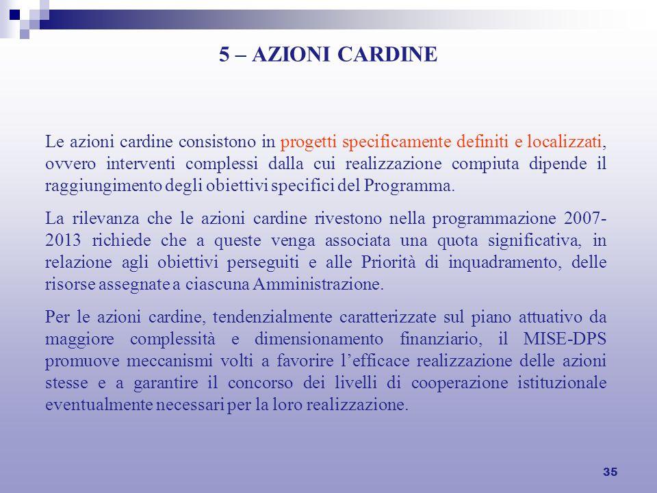 35 5 – AZIONI CARDINE Le azioni cardine consistono in progetti specificamente definiti e localizzati, ovvero interventi complessi dalla cui realizzazione compiuta dipende il raggiungimento degli obiettivi specifici del Programma.