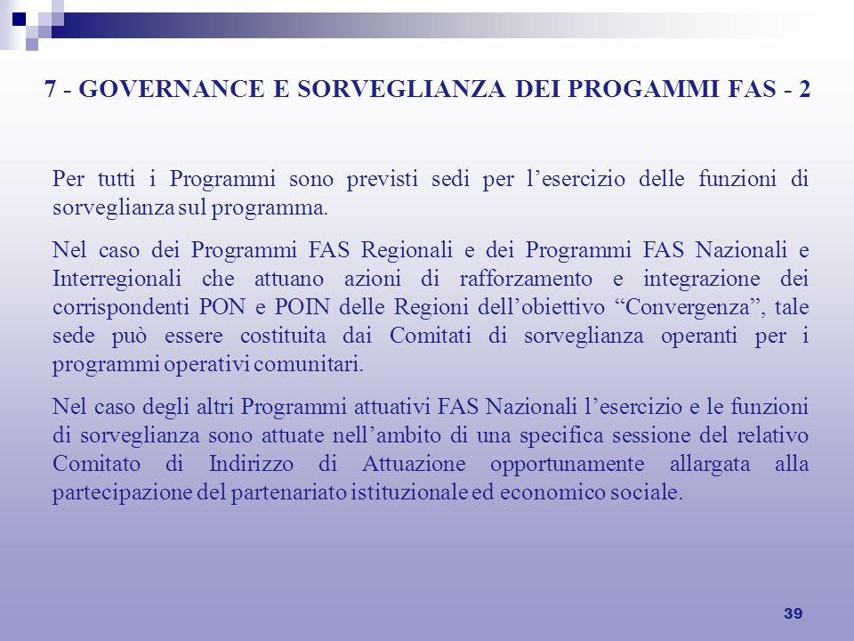 39 7 - GOVERNANCE E SORVEGLIANZA DEI PROGAMMI FAS - 2 Per tutti i Programmi sono previsti sedi per lesercizio delle funzioni di sorveglianza sul programma.
