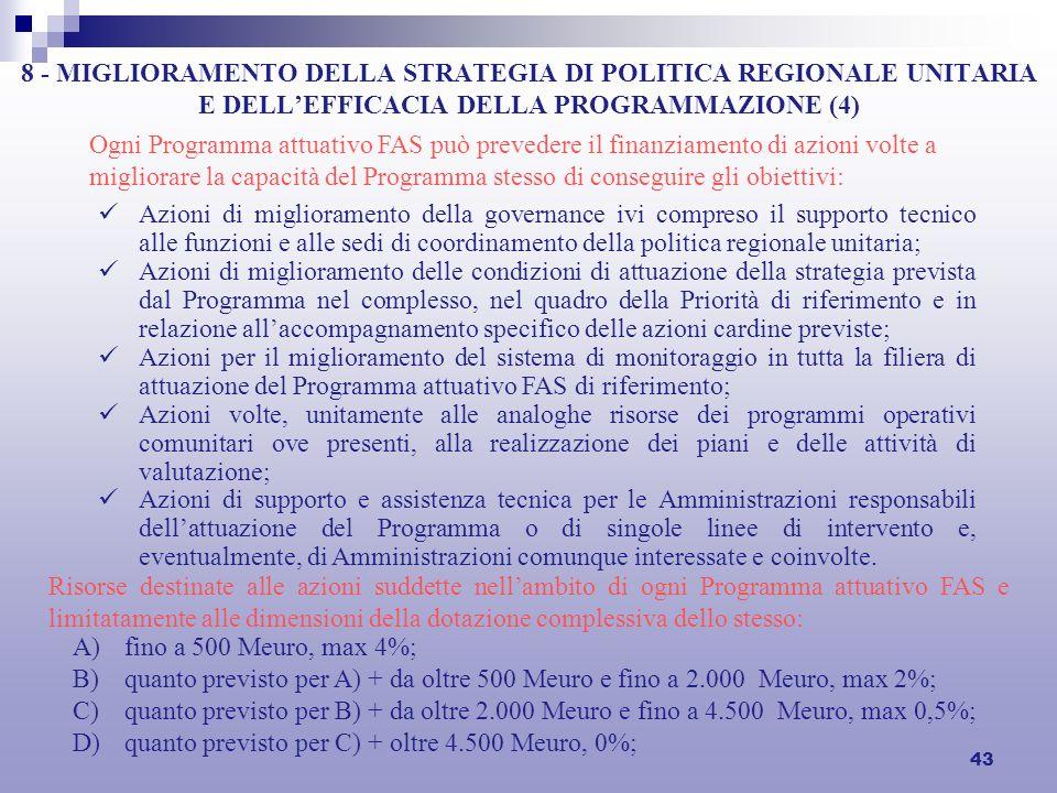 43 8 - MIGLIORAMENTO DELLA STRATEGIA DI POLITICA REGIONALE UNITARIA E DELLEFFICACIA DELLA PROGRAMMAZIONE (4) Ogni Programma attuativo FAS può preveder