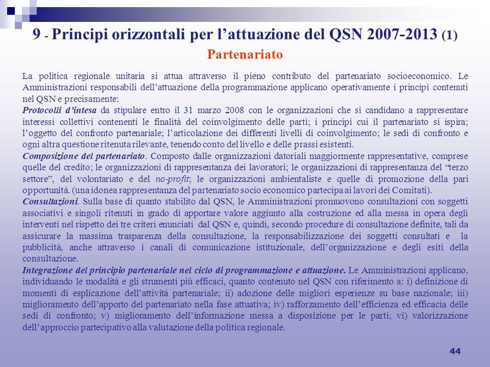 44 9 - Principi orizzontali per lattuazione del QSN 2007-2013 (1) Partenariato La politica regionale unitaria si attua attraverso il pieno contributo del partenariato socioeconomico.