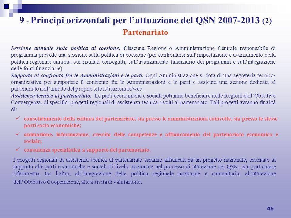 45 9 - Principi orizzontali per lattuazione del QSN 2007-2013 (2) Partenariato Sessione annuale sulla politica di coesione. Ciascuna Regione o Amminis