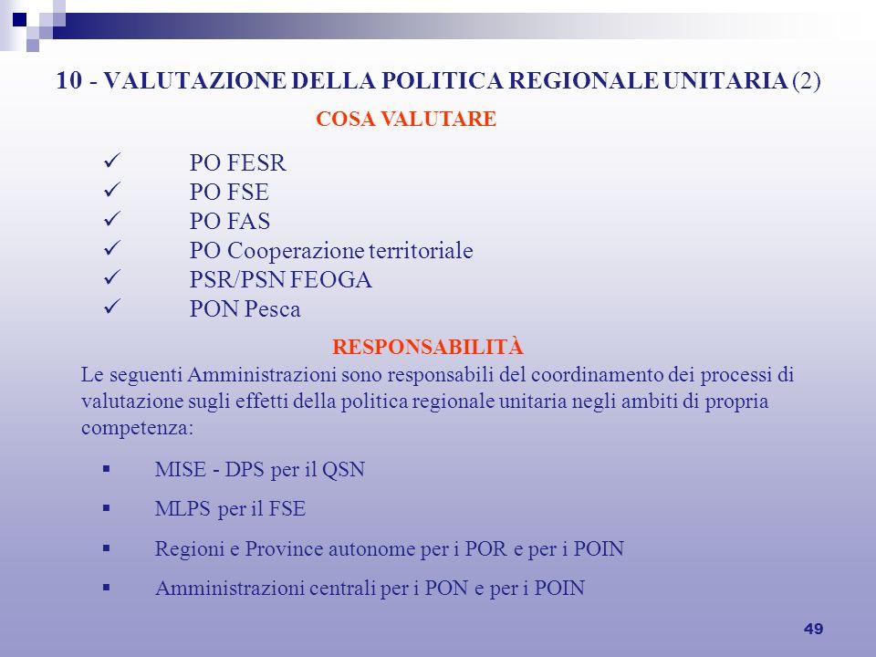 49 10 - VALUTAZIONE DELLA POLITICA REGIONALE UNITARIA (2) PO FESR PO FSE PO FAS PO Cooperazione territoriale PSR/PSN FEOGA PON Pesca COSA VALUTARE MISE - DPS per il QSN MLPS per il FSE Regioni e Province autonome per i POR e per i POIN Amministrazioni centrali per i PON e per i POIN RESPONSABILITÀ Le seguenti Amministrazioni sono responsabili del coordinamento dei processi di valutazione sugli effetti della politica regionale unitaria negli ambiti di propria competenza:
