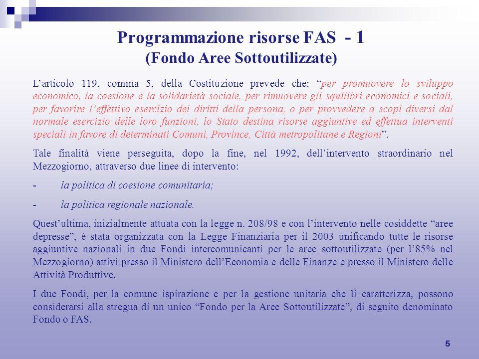 5 Programmazione risorse FAS - 1 (Fondo Aree Sottoutilizzate) Larticolo 119, comma 5, della Costituzione prevede che: per promuovere lo sviluppo econo