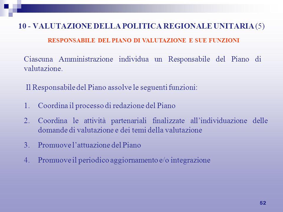 52 10 - VALUTAZIONE DELLA POLITICA REGIONALE UNITARIA (5) Ciascuna Amministrazione individua un Responsabile del Piano di valutazione. Il Responsabile