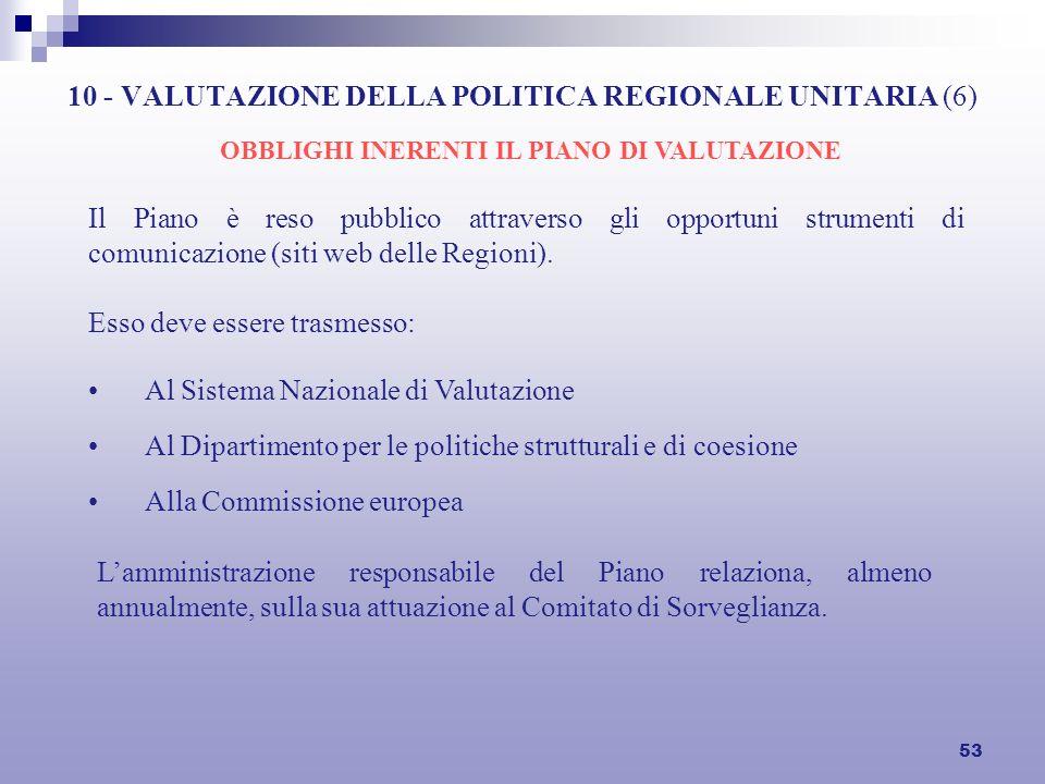 53 10 - VALUTAZIONE DELLA POLITICA REGIONALE UNITARIA (6) Il Piano è reso pubblico attraverso gli opportuni strumenti di comunicazione (siti web delle Regioni).