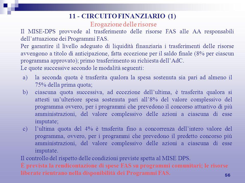 56 11 - CIRCUITO FINANZIARIO (1) Erogazione delle risorse Il MISE-DPS provvede al trasferimento delle risorse FAS alle AA responsabili dellattuazione