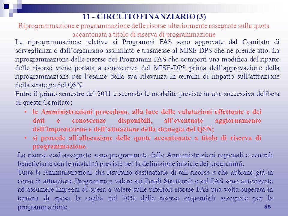 58 11 - CIRCUITO FINANZIARIO (3) Riprogrammazione e programmazione delle risorse ulteriormente assegnate sulla quota accantonata a titolo di riserva d