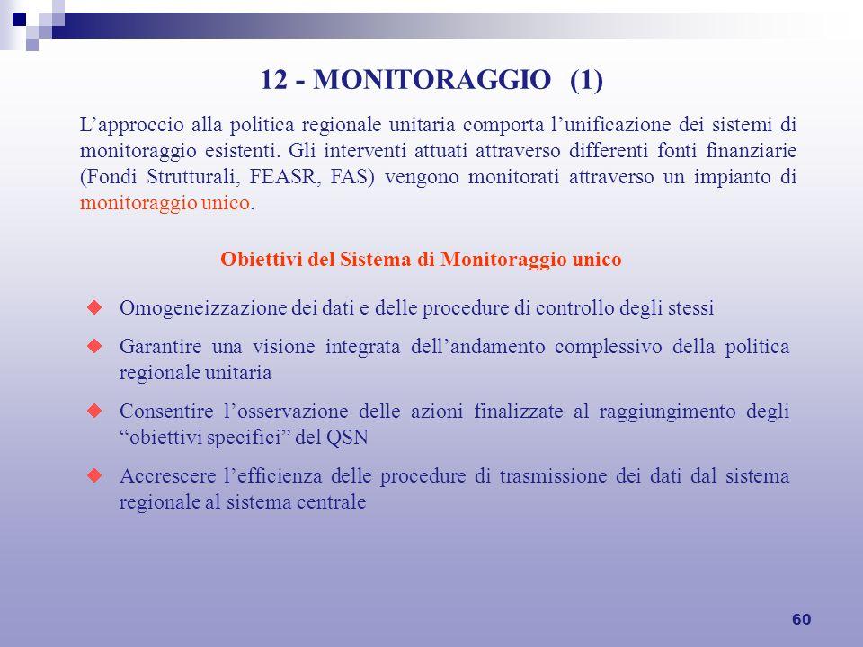 60 12 - MONITORAGGIO (1) Lapproccio alla politica regionale unitaria comporta lunificazione dei sistemi di monitoraggio esistenti.