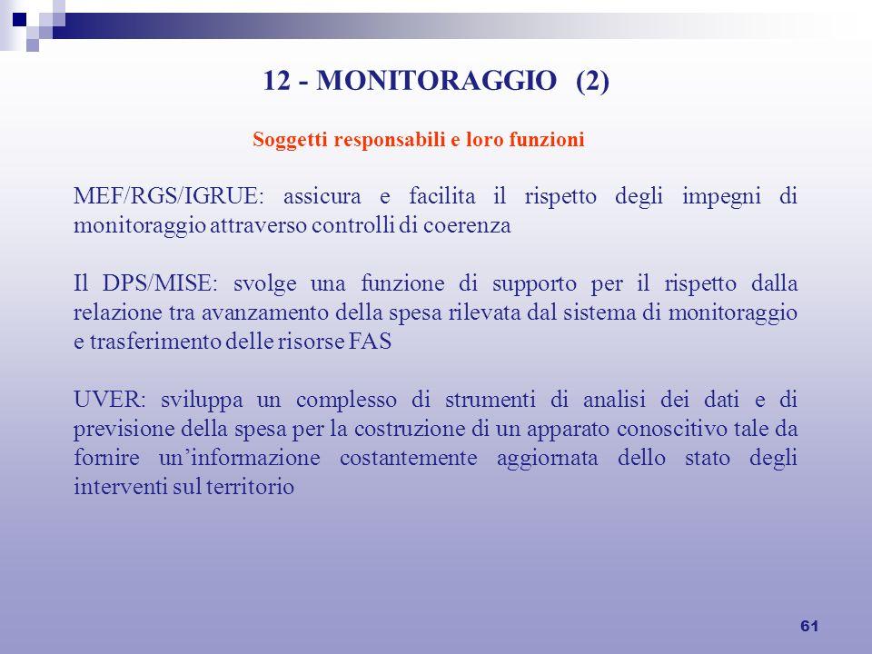 61 12 - MONITORAGGIO (2) MEF/RGS/IGRUE: assicura e facilita il rispetto degli impegni di monitoraggio attraverso controlli di coerenza Il DPS/MISE: sv