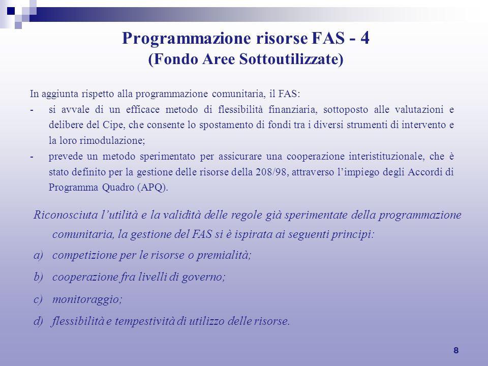 8 Programmazione risorse FAS - 4 (Fondo Aree Sottoutilizzate) Riconosciuta lutilità e la validità delle regole già sperimentate della programmazione c