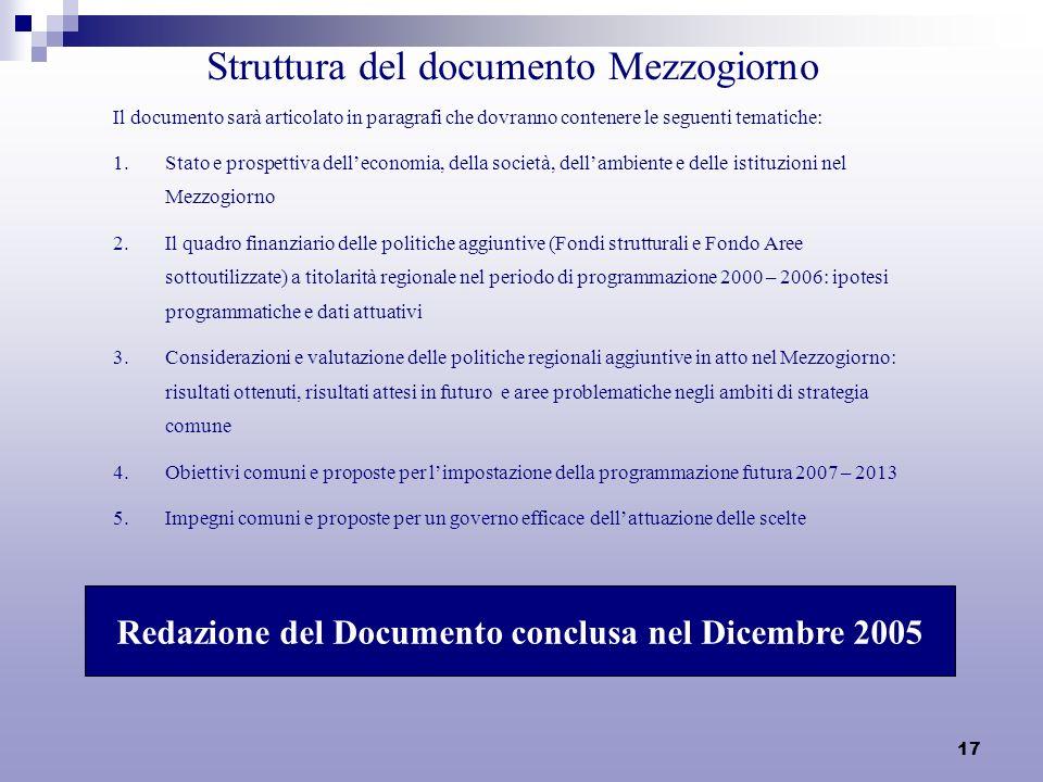 17 Struttura del documento Mezzogiorno Il documento sarà articolato in paragrafi che dovranno contenere le seguenti tematiche: 1.Stato e prospettiva d