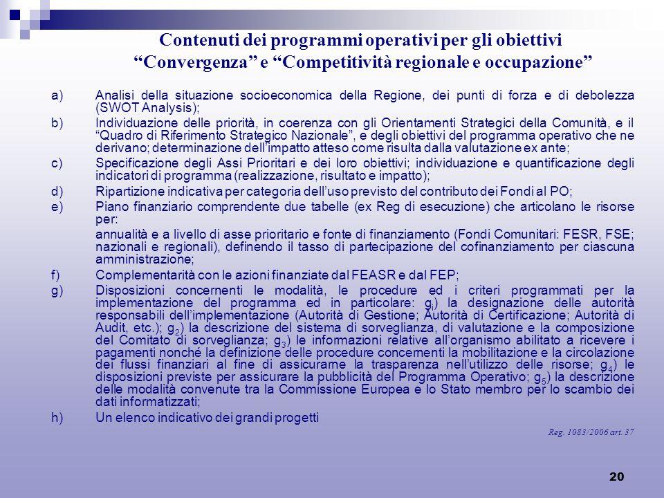 20 Contenuti dei programmi operativi per gli obiettivi Convergenza e Competitività regionale e occupazione a)Analisi della situazione socioeconomica d