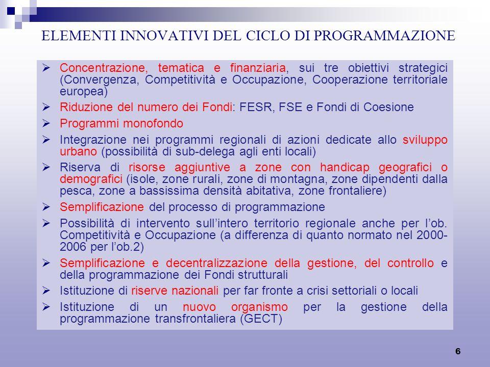 6 ELEMENTI INNOVATIVI DEL CICLO DI PROGRAMMAZIONE Concentrazione, tematica e finanziaria, sui tre obiettivi strategici (Convergenza, Competitività e Occupazione, Cooperazione territoriale europea) Riduzione del numero dei Fondi: FESR, FSE e Fondi di Coesione Programmi monofondo Integrazione nei programmi regionali di azioni dedicate allo sviluppo urbano (possibilità di sub-delega agli enti locali) Riserva di risorse aggiuntive a zone con handicap geografici o demografici (isole, zone rurali, zone di montagna, zone dipendenti dalla pesca, zone a bassissima densità abitativa, zone frontaliere) Semplificazione del processo di programmazione Possibilità di intervento sullintero territorio regionale anche per lob.