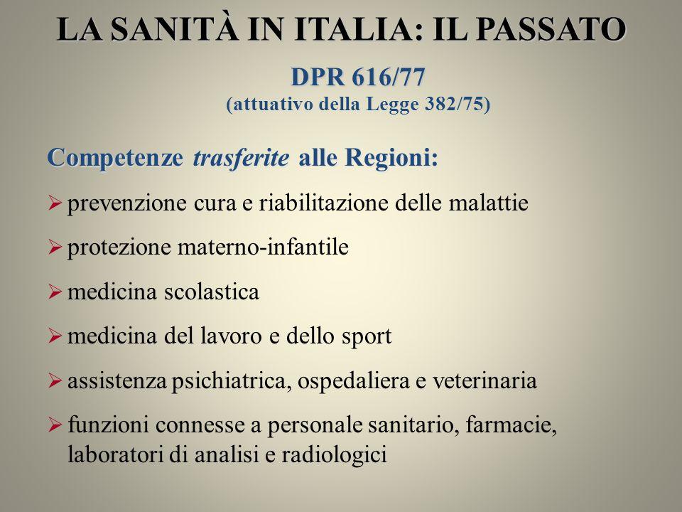 LA SANITÀ IN ITALIA: IL PASSATO DPR 616/77 (attuativo della Legge 382/75) Competenze trasferite alle Regioni: prevenzione cura e riabilitazione delle