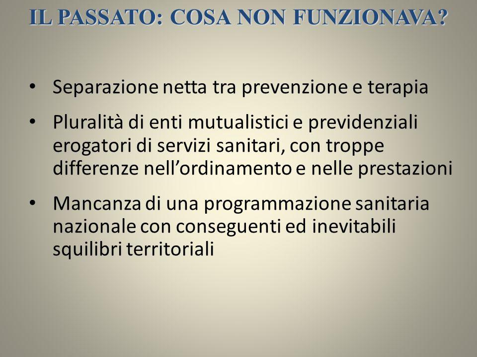 IL PASSATO: COSA NON FUNZIONAVA? Separazione netta tra prevenzione e terapia Pluralità di enti mutualistici e previdenziali erogatori di servizi sanit