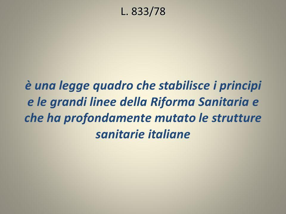 è una legge quadro che stabilisce i principi e le grandi linee della Riforma Sanitaria e che ha profondamente mutato le strutture sanitarie italiane L