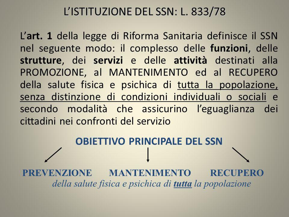 Lart. 1 della legge di Riforma Sanitaria definisce il SSN nel seguente modo: il complesso delle funzioni, delle strutture, dei servizi e delle attivit