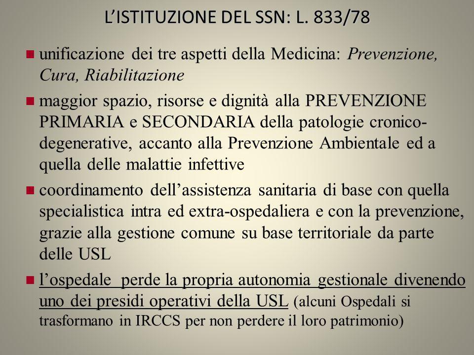 LISTITUZIONE DEL SSN: L. 833/78 unificazione dei tre aspetti della Medicina: Prevenzione, Cura, Riabilitazione maggior spazio, risorse e dignità alla