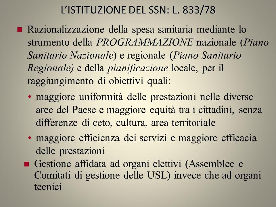 LISTITUZIONE DEL SSN: L. 833/78 Razionalizzazione della spesa sanitaria mediante lo strumento della PROGRAMMAZIONE nazionale (Piano Sanitario Nazional