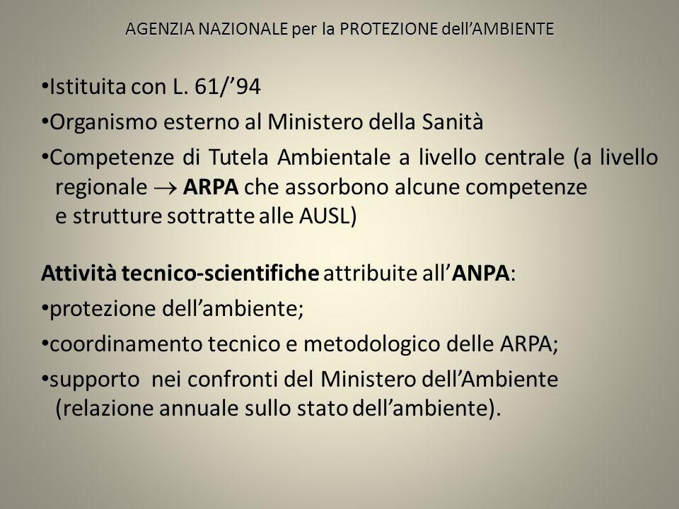 AGENZIA NAZIONALE per la PROTEZIONE dellAMBIENTE Istituita con L. 61/94 Organismo esterno al Ministero della Sanità Competenze di Tutela Ambientale a