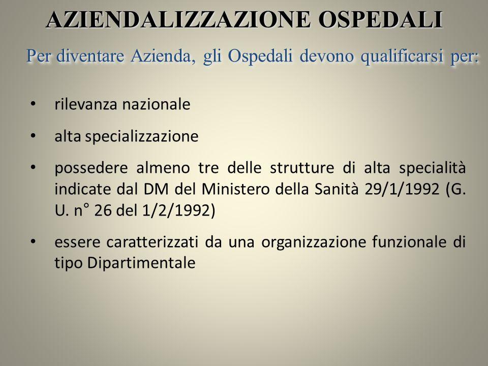 rilevanza nazionale alta specializzazione possedere almeno tre delle strutture di alta specialità indicate dal DM del Ministero della Sanità 29/1/1992