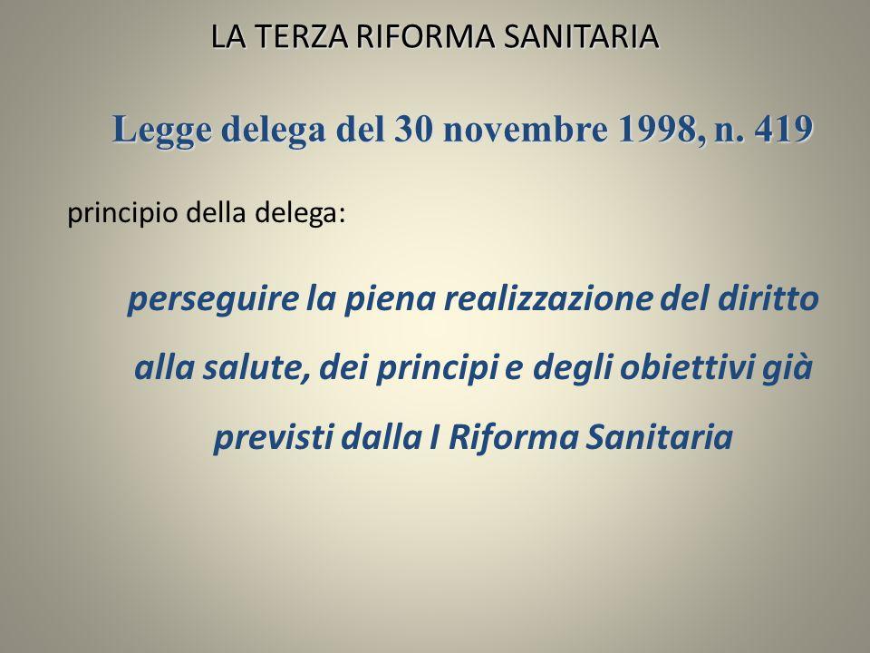LA TERZA RIFORMA SANITARIA principio della delega: perseguire la piena realizzazione del diritto alla salute, dei principi e degli obiettivi già previ