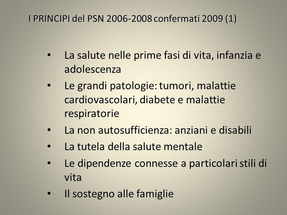 I PRINCIPI del PSN 2006-2008 confermati 2009 (1) La salute nelle prime fasi di vita, infanzia e adolescenza Le grandi patologie: tumori, malattie card