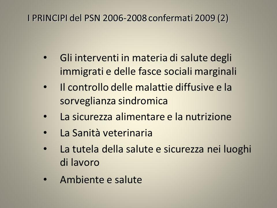 I PRINCIPI del PSN 2006-2008 confermati 2009 (2) Gli interventi in materia di salute degli immigrati e delle fasce sociali marginali Il controllo dell