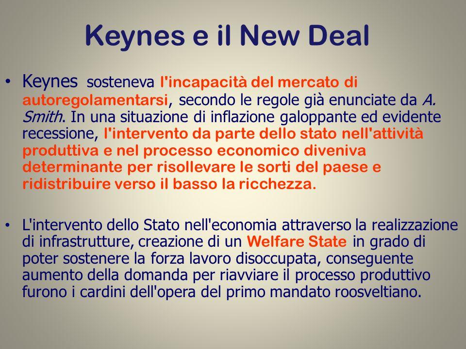Keynes e il New Deal Keynes sosteneva l'incapacità del mercato di autoregolamentarsi, secondo le regole già enunciate da A. Smith. In una situazione d