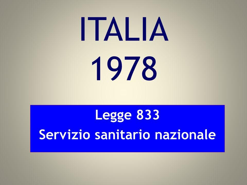 ITALIA 1978 Legge 833 Servizio sanitario nazionale