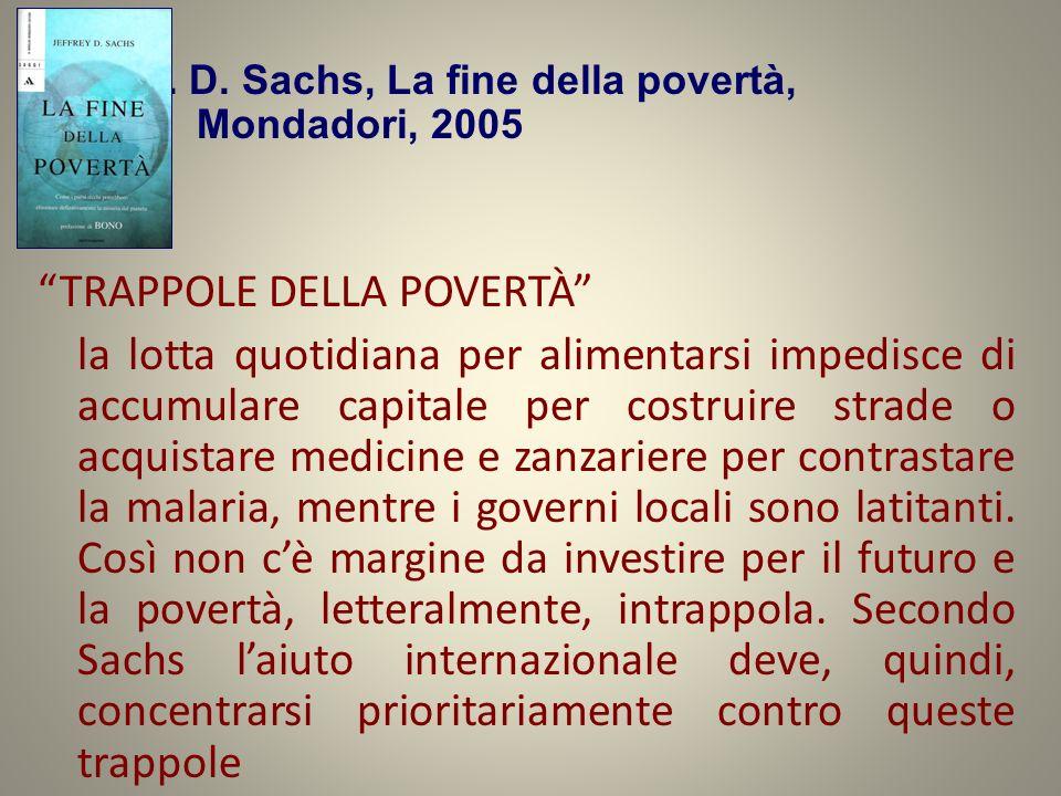 J. D. Sachs, La fine della povertà, Mondadori, 2005 TRAPPOLE DELLA POVERTÀ la lotta quotidiana per alimentarsi impedisce di accumulare capitale per co