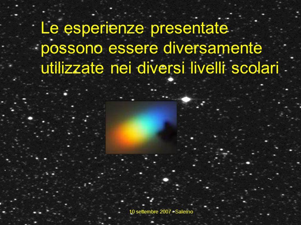 10 settembre 2007 - Salerno Le esperienze presentate possono essere diversamente utilizzate nei diversi livelli scolari