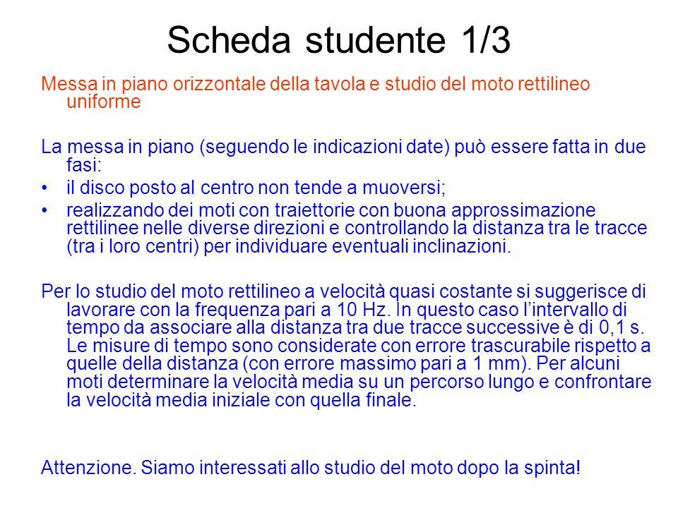Scheda studente 1/3 Messa in piano orizzontale della tavola e studio del moto rettilineo uniforme La messa in piano (seguendo le indicazioni date) può
